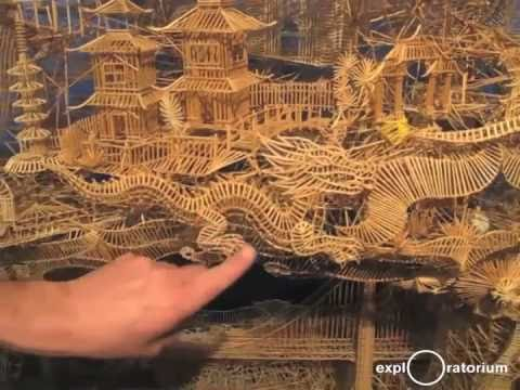 100,000 Toothpick Sculpture with balls rolling through it, it took 35 years to build