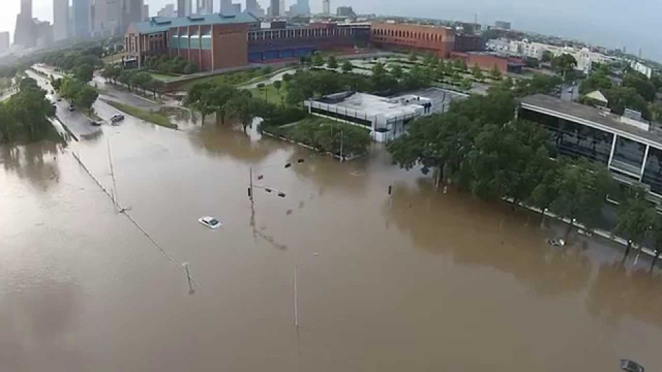 Buffalo Bayou Park –  Houston Flooding captured by drone-