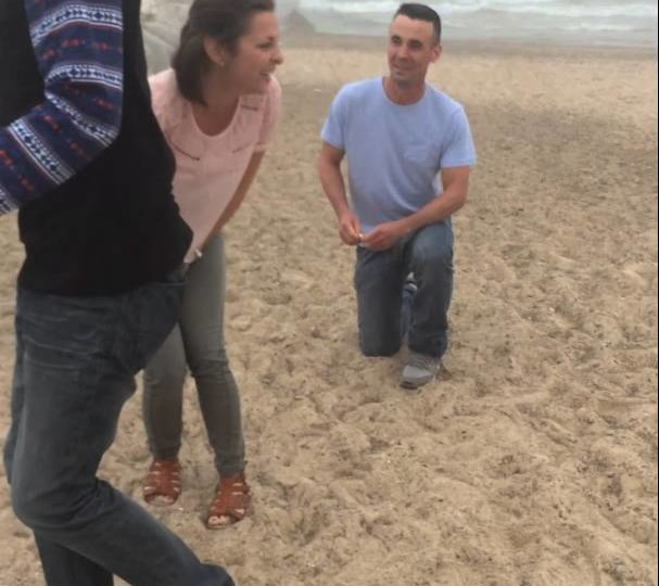 Mother face plants during proposal