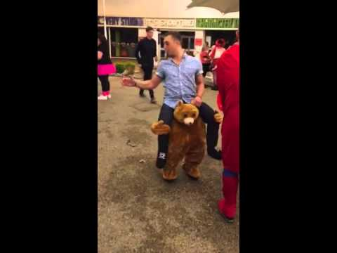 riding on bear costume