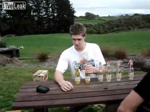 Man drinks 6 beers in 2 minutes and then surprise!