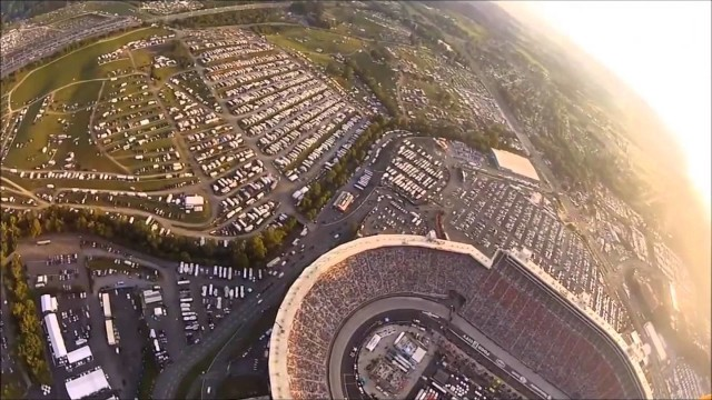 Skydiving into stadium