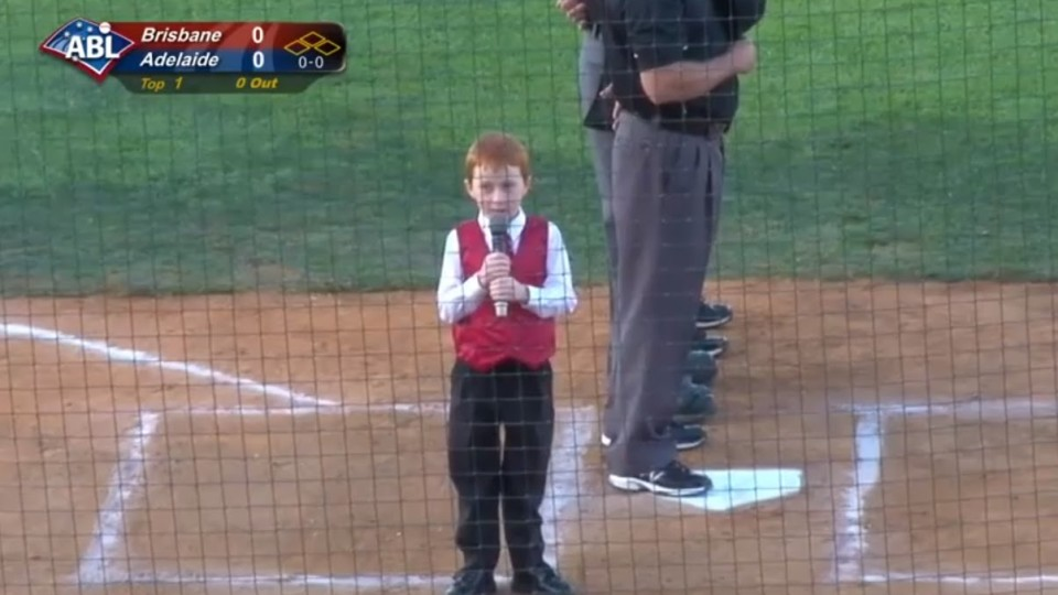 Kid Hiccups During National Anthem
