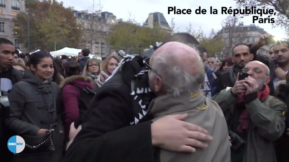 Muslim Man Hugs People in Paris